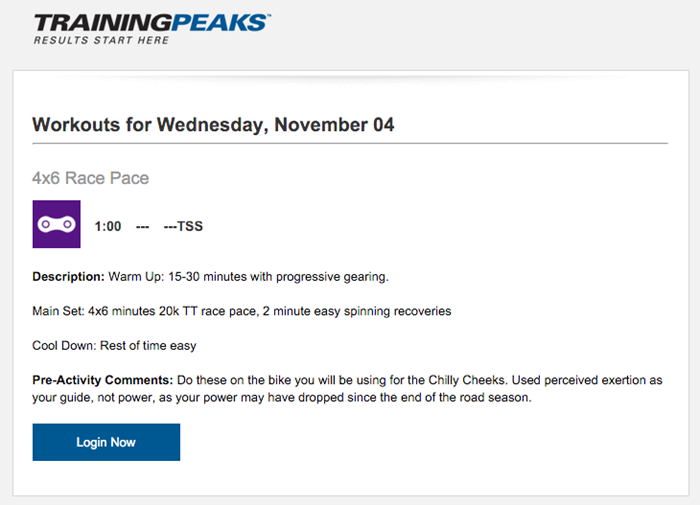 Daily Workout email