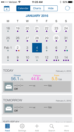 TrainingPeaks Mobile Calendar