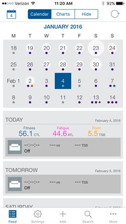 TrainingPeaks Mobile Calendar