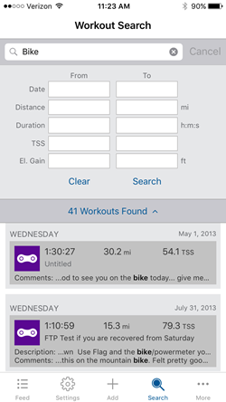 Workout Search Mobile