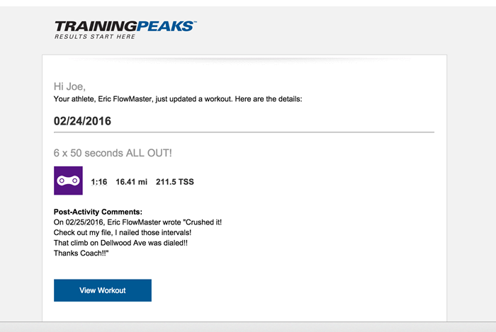 TrainingPeaks Post Workout Notifications