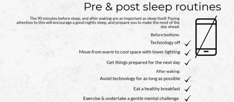 pre and post sleep routines